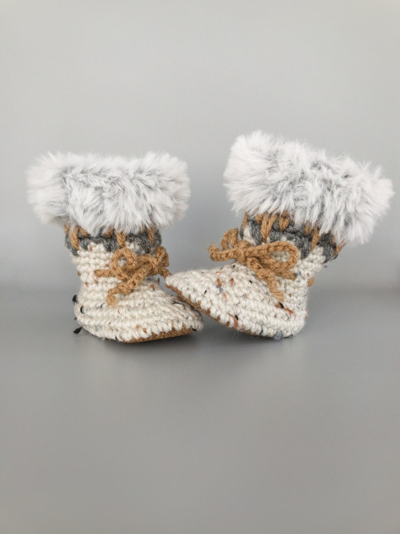 Knit Baby Booty Warm Winter Oatmeal Baby Shoes Knitted Fur image 0