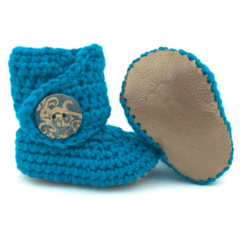ac662fd63ab08 Blue Baby Booties, Crochet Infant Boots, Gold Leather Uggs, 0-3 Months,  Bright Navy Outfit, Baby Girl Shoes, Baby Shower Gift, Newborn Boots