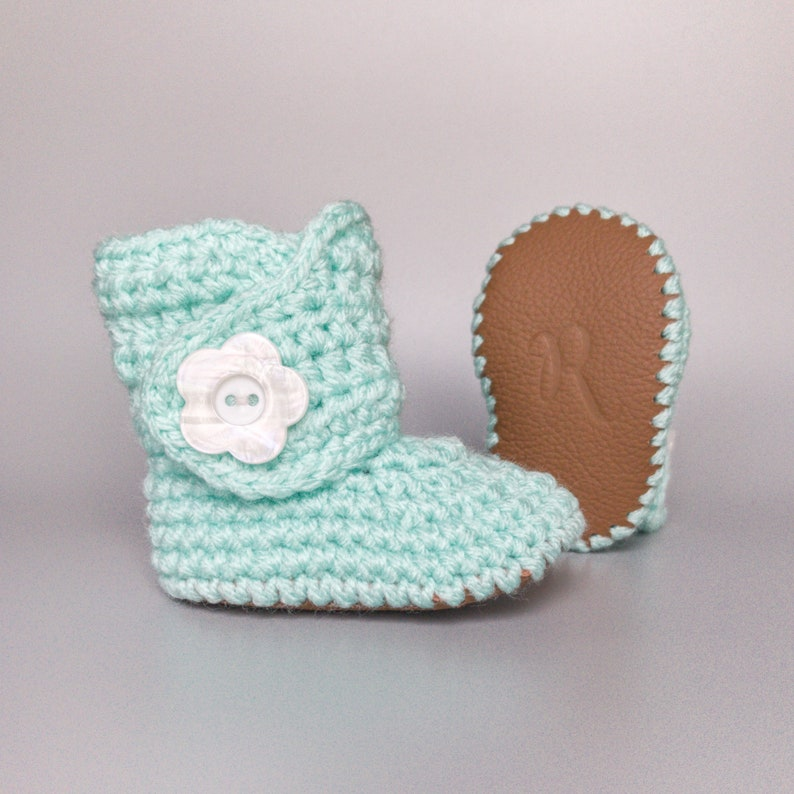 Mint Baby Shoes Knit Baby Boots Baby Girl Booties Crochet image 0