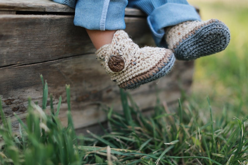 Baby Boy Booties Crochet Baby Outfit Baby Shower Gift Beige image 0