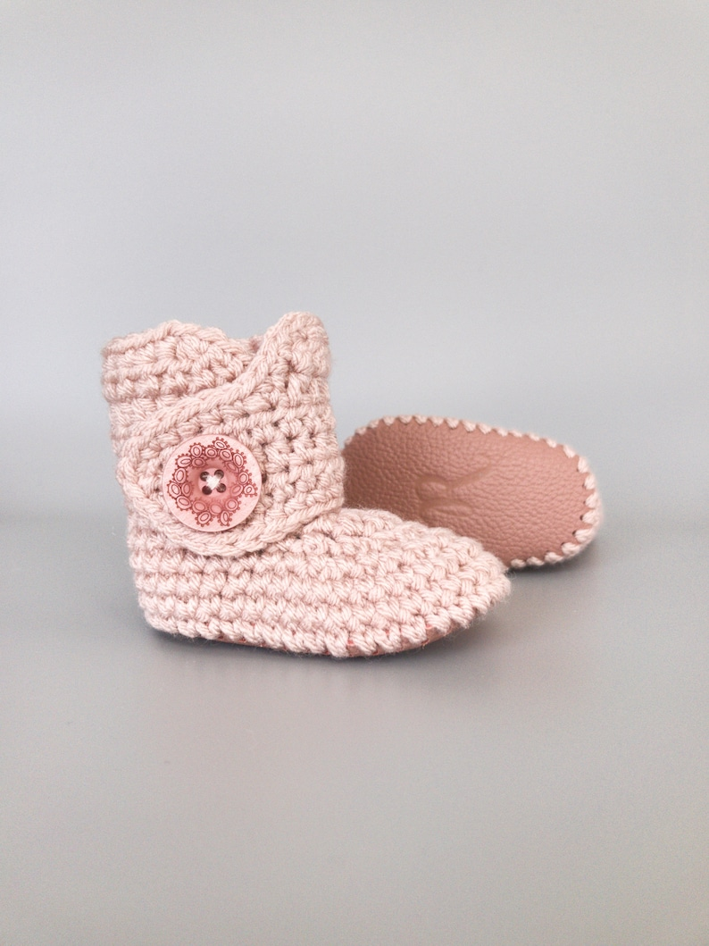 Blush Crochet Baby Booties with Mauve Pink Leather Soft Soles image 0