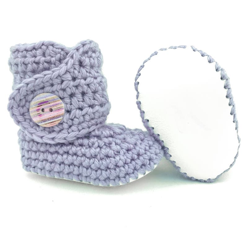 80eaf4a6f5f7f Baby Girl Booties, Purple Infant Shoes, White Leather Soft Soles, Pastel  Purple Baby Clothes, Knit Girl Clothing, Pink Baby Gift for Girls