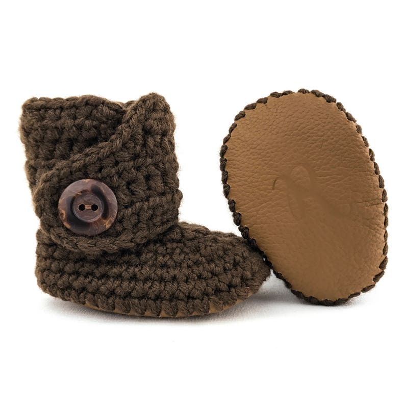 b627d845247 Brown Baby Boots Knit Infant Booties Unisex Baby Clothes
