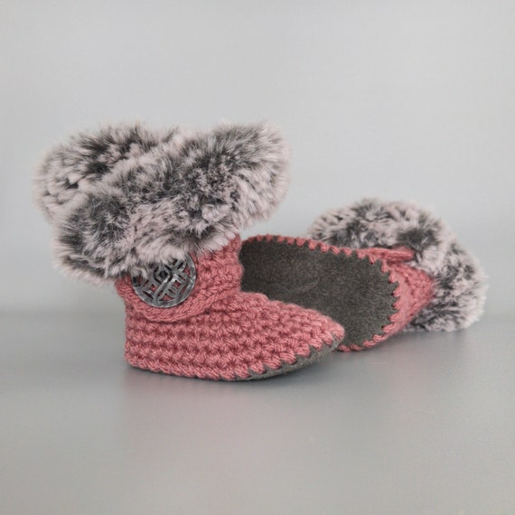 Dark Pink Baby Shoes Knit Infant
