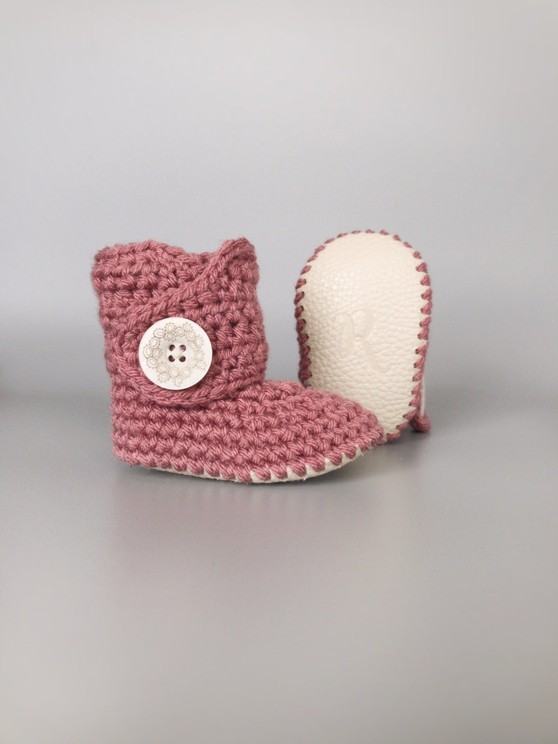 Dark Pink Baby Shoes Crochet Baby Booties Baby Girl Outfit image 0