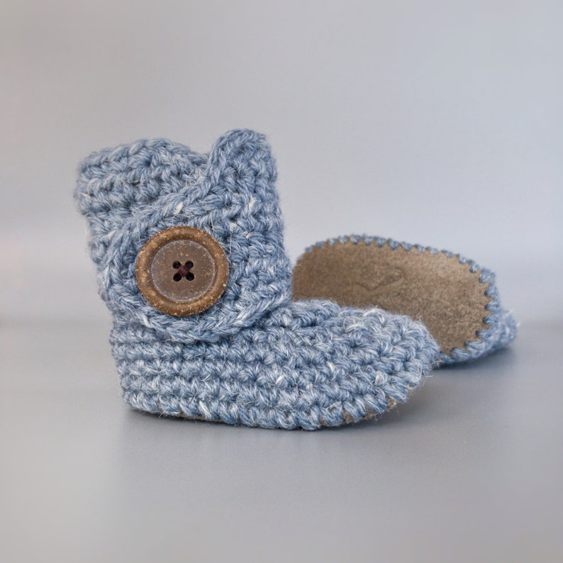 Dusty Blue Crochet Baby Booties with Soft Hemp Yarn and Gray image 0