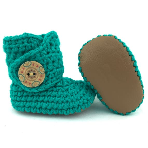 Turquoise Baby Booties Crochet Baby Booties Newborn Boots   Etsy 137f8e0e3ba4