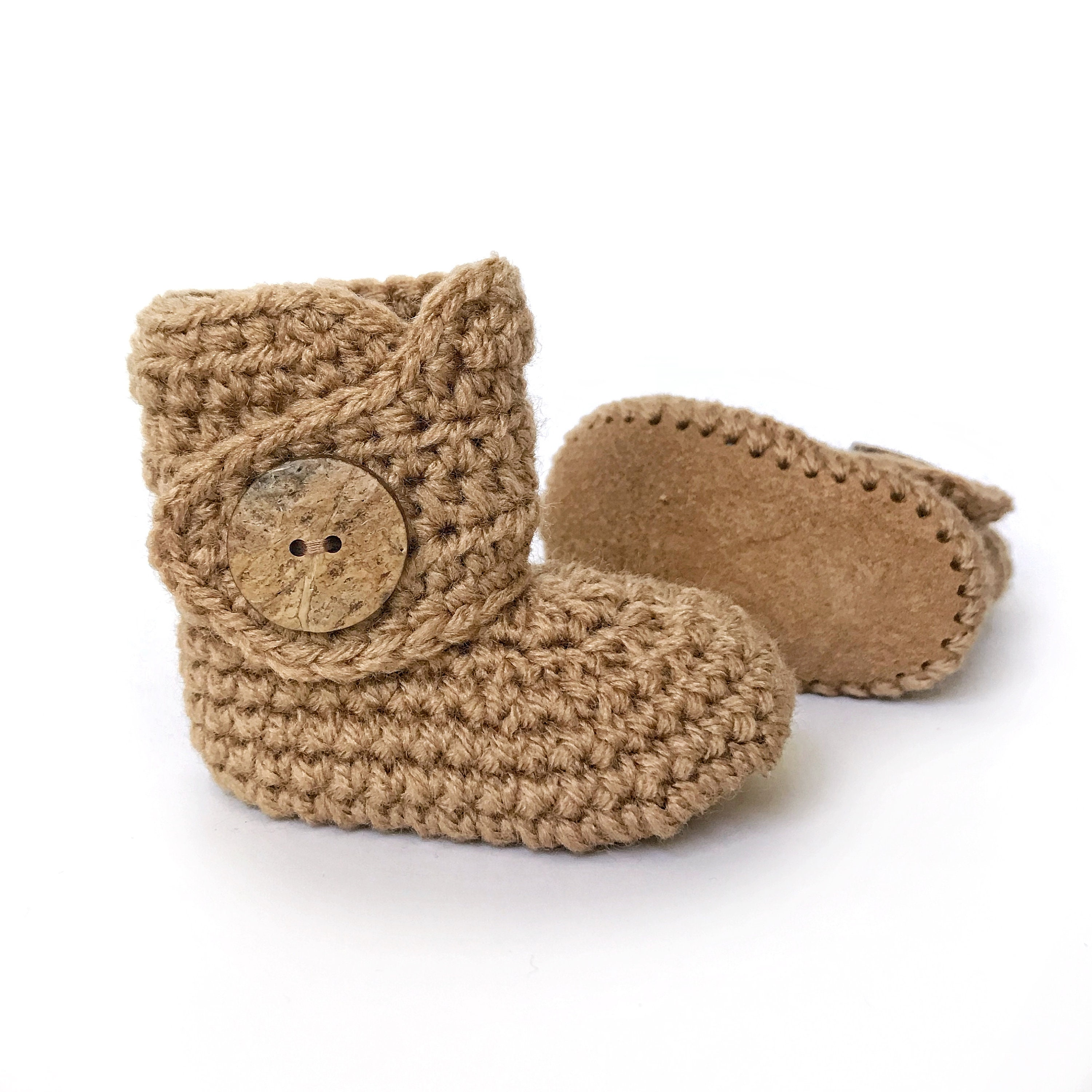 c83058fba813e Infant Crib Shoes, Tan Baby Shoes, Suede Baby Boots, Brown Boy Shoes, Fall  Crochet Baby Booties, Knitted Baby Outfit, Unisex Baby Clothes