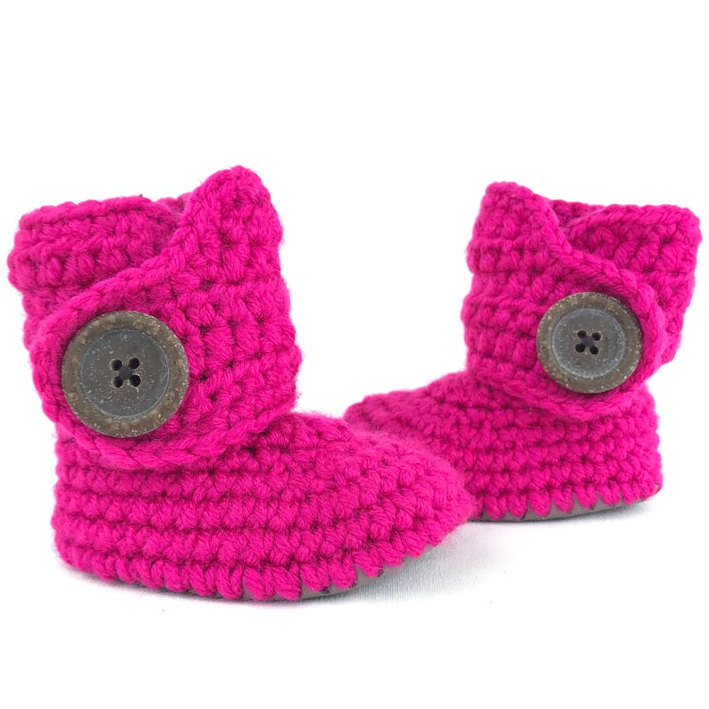 c0162b03fd907 Baby Girl Boots, Hot Pink and Gray Infant Soft Sole Booties, Feminine  Fuchsia Newborn Shoes, Colorful Crib Shoes for New Baby, Gift for Girl