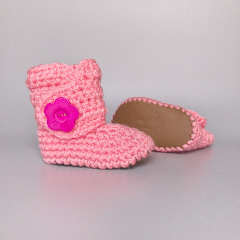 b2945b8ab0a75 Newborn Baby Girl Shoes, Pink Infant Booties, Knit Baby Clothes, Brown  Leather Soft Soles, Coming Home Outfit, Infant Girl Outfit, Baby Gift