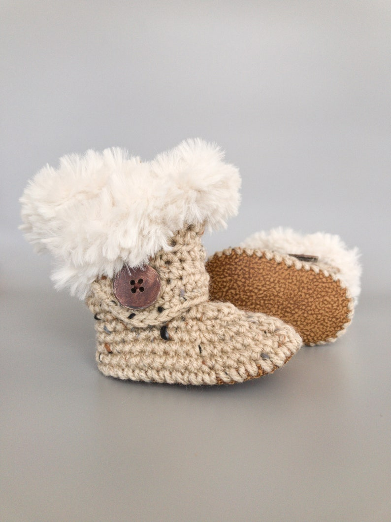 Winter Baby Booties Gender Neutral Gift Soft Knit Baby image 0