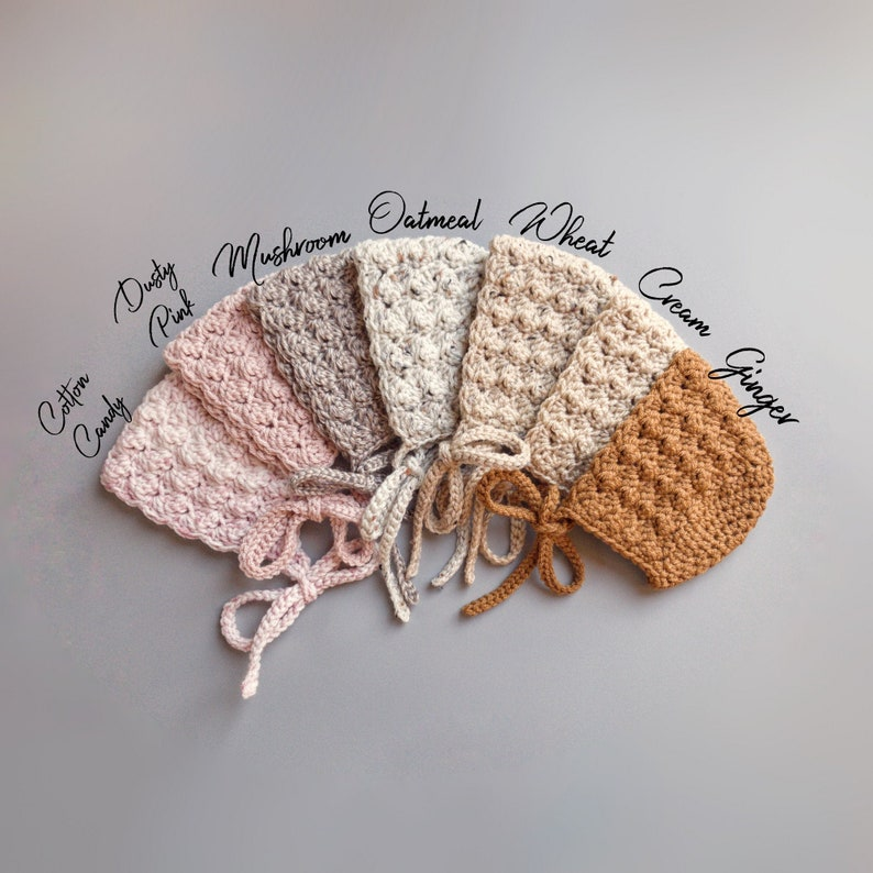 e5ae3b781d40a Crochet Baby Bonnets in Ginger, Dusty Pink, Oatmeal, and Cream from sizes  Newborn to Toddler, Handmade Baby Shower Gift
