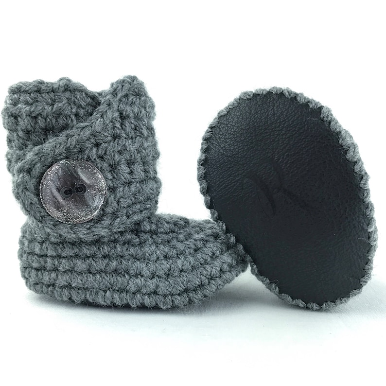 056a31bea Infant Shoes Gray Baby Booties Black Newborn Outfit Silver