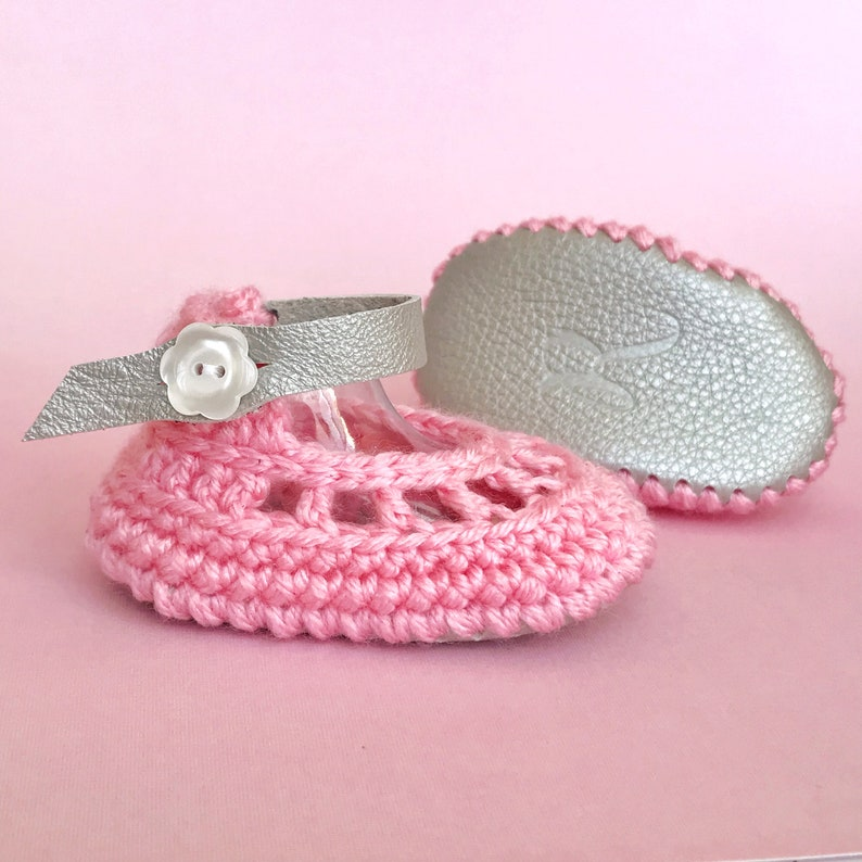 Summer Baby Shoes Pink Flower Sandals Platinum Leather image 0