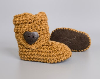 Neutral Fall Baby Shoes, Ginger Infant Booties, Unisex Crochet Baby Booties, New Baby Present, Fall Baby Girl Outfit, Soft Sole Baby Boots