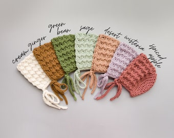 Natural Earthy Baby Bonnets available in Newborn to Toddler, Handmade Baby Shower Gift