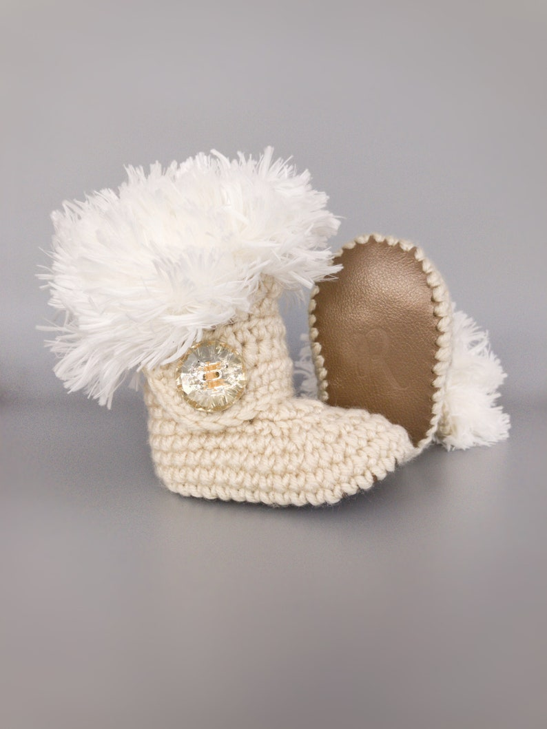 f88d26b78026 Winter Girl Booties Gold Leather Infant Booty White Fur Ugg | Etsy