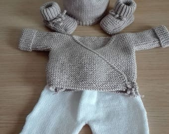 baby jacket liner Beanie 0/3 months pants set