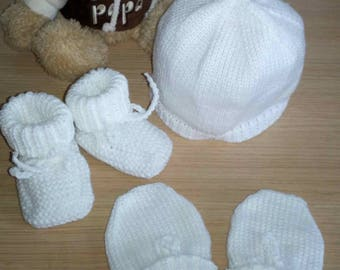 Beanie Baby 0/3 months booties and mittens knitting handmade
