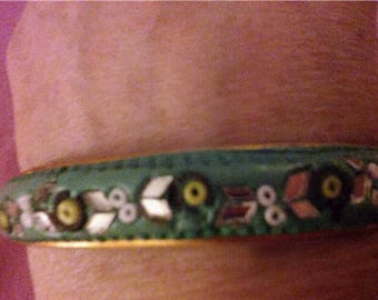 Vintage Turquoise with Green/White Flower Beads and Mirror Leaves Bangle
