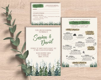 Camping Wedding Suite   invitation, rsvp, timeline, map, itinerary, watercolor, outdoors, weekend, lake, mountains, trees, printable, custom