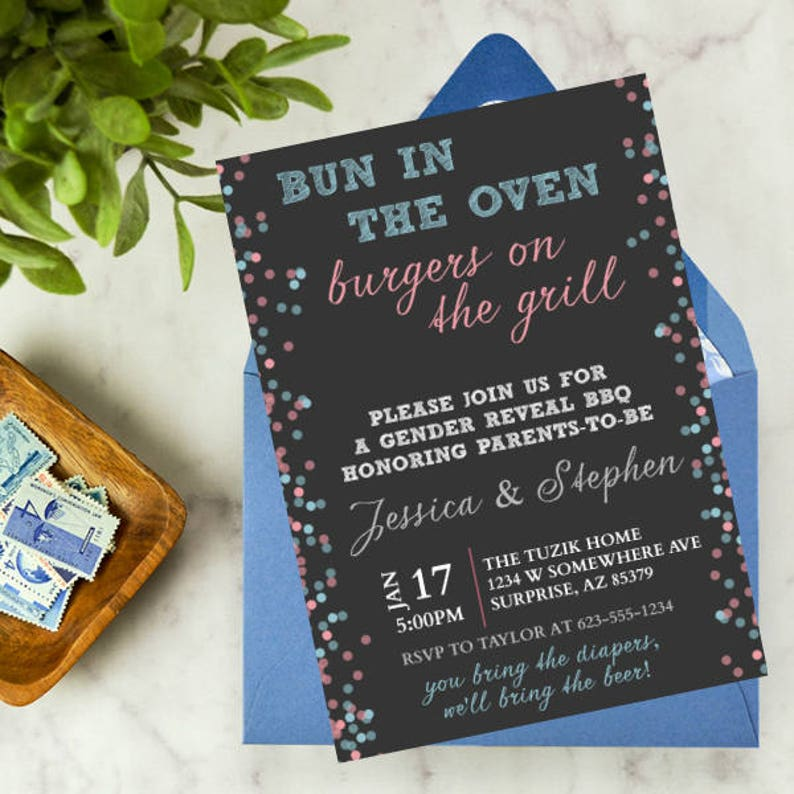 Bun in the Oven, Burgers on the Grill | Gender reveal, baby shower,  printable, digital, customizable, DIY, confetti, dots, paint splatter