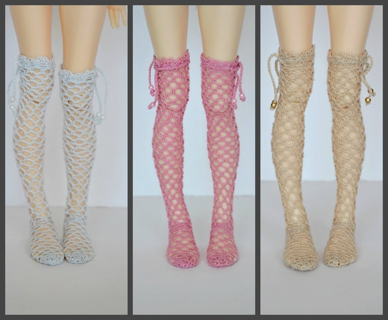 Knitted high socks for minifee, slim Msd, 1/4 bjd doll