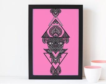 The Imagining Dusty Rose Zentangle Print