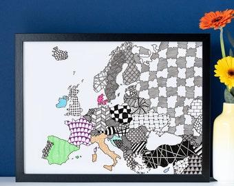 Map of Europe Print