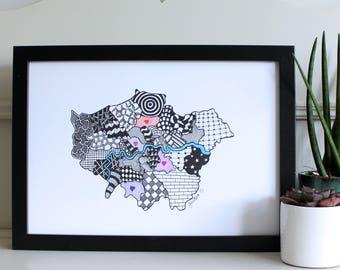 Personalised Map of London Print