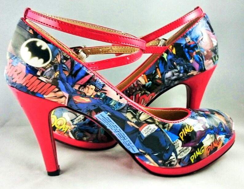 d0bac86e6e35 Batman and Superman Comic book Heels Superhero Shoes Going
