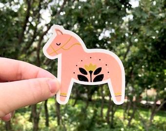 Dala Horse Vinyl Sticker, Swedish Dala Horse, waterproof sticker for water bottles, laptops, sewing machines, notebooks