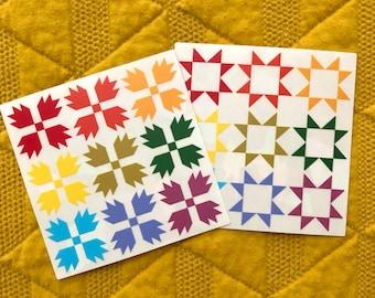 Quilt Block Rainbow-Making Suncatcher Vinyl Sticker, Window Decal, Bear Paw and Sawtooth Star, Sewing Room, Nursery, Home, Gift