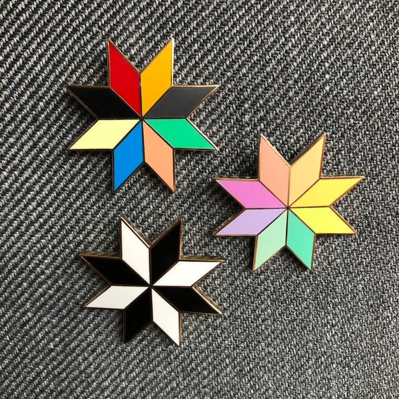 Quilt Star Enamel Pin All Three