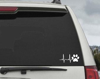 Dog Paw Print Heartbeat EKG  - Car Window Decal Sticker