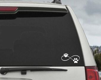 Dog  Infinity Paw Heart Decal  - Car Window Decal Sticker