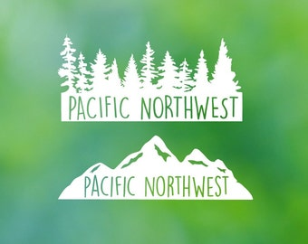 Pacific Northwest  PNW  Tree Landscape  Decal Or  PNW  Mountain Landscape Decal - Car Decal - Car Sticker - Laptop Decal - Laptop Sticker