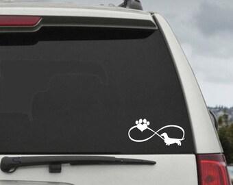 Dachshund Infinity Paw Heart Decal  - Car Window Decal Sticker