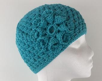 READY TO SHIP/Aqua Teal Blue/Lightweight Cotton Hat/Crochet Hat/Knit Hat/Soft/Cute/Spring Summer Hat/Cap/Beanie/Toque/Flower Hat/Adult/Women