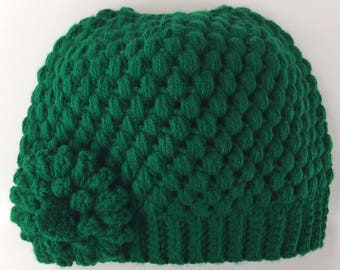 READY TO SHIP/Messy Bun Hat/Kelly Green/St. Patrick's Day/Crochet/Knit Hat/Beanie/Cap/Flower/Ponytail/Adult/Women/Ladies/Girls/Chunky/Toque