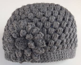 READY TO SHIP/Gray Hat/Crochet/Knit Knitted Hat/Beanie/Cap/Warm/Thick Chunky/Winter Hat/Flower Hat/Adult/Women/Ladies/Teen/Girls Hat/Toque