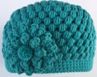 READY TO SHIP/Teal/Aqua Blue Green/Crochet/Knit Hat/Cap/Warm/Thick Chunky/Winter Hat/Flower Hat/Adult/Women/Ladies/Teen/Girls/Ski Hat/Toque