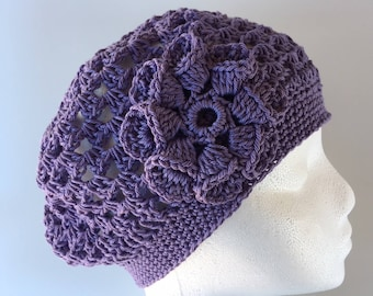 31c66545a28 READY to SHIP Lavender Purple Hat Cool Lightweight Cotton Slouchy Hat  Beret Tam Crochet Knit Hat Spring Summer Flower Hat Ladies Hat rts