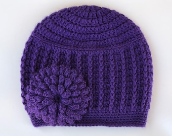 cb38f033b3c8d READY to SHIP Purple Violet Crochet Knit Hat Cute Beanie Warm Thick  Chunky Winter Cozy Textured Flower Hat Soft Adult Women Ladies Toque rts