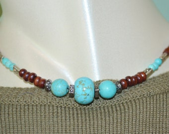 Choker Turquoise & Wood Bead, Turquoise and Wood Bead Choker, Turquoise Choker, Wood Bead Choker, Southwestern Turquoise Choker