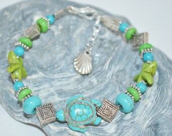 Bracelet Sea Turtle & Star Fish, Green and Blue Bead Beachy Bracelet, Sea Turtle Bracelet, Star Fish Bracelet, Beachy Bracelet, Sea Turtle