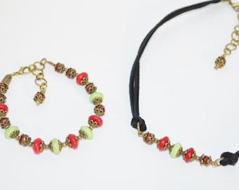 Choker & Bracelet Set Red and Green Beaded Choker with Matching Bracelet, Black Leather Choker with Red and Green Beads, Choker Set