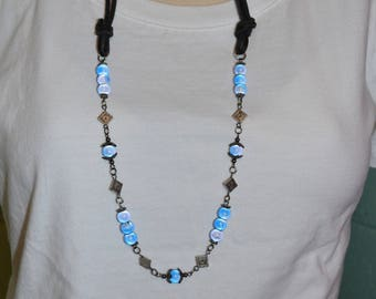 Necklace Black Leather with Blue Beads, Long Black Leather & Blue Beaded Necklace, Boho Leather Beaded Necklace, 1 of a kind Long Necklace
