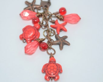 Swivel Clip Keychain Red Sea Turtles & Starfish, Sea Turtles on Copper Swivel Clip, Starfish and Sea Turtle Purse Clip with Red Faceted Bead