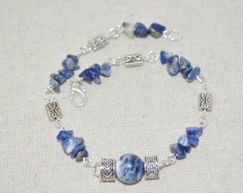 Anklet Bracelet Lapis Lazuli, Lapis Anklet, Silver & Lapis Lazuli Chip Anklet, Lapis Lazuli and Silver  Bead Anklet
